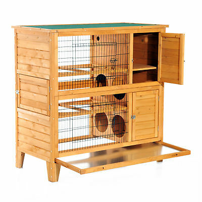 PawHut 2-Story Wood Chicken Coop Hen House Poultry Cage w/ Nest Box Backyard