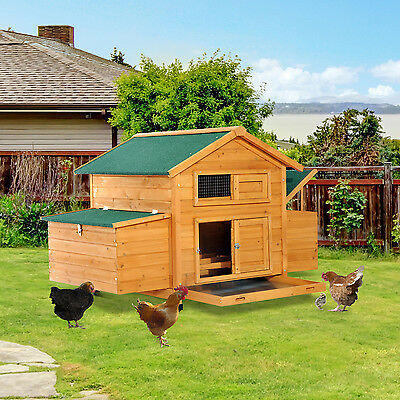 Pawhut Large Wooden Chicken Coop Hen Cage Poultry Hutch 2 Nesting Boxes W/ Tray