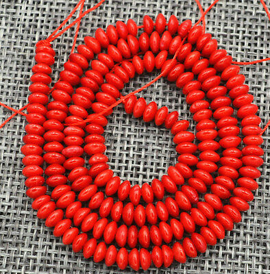 """Fine! 2x4mm Red Coral Gems Abacus Loose Beads 15 """""""