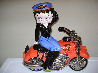 Betty Boop Motorcycle Cookie Jar. Hand Painted In Original Box. 2000 Clayart.