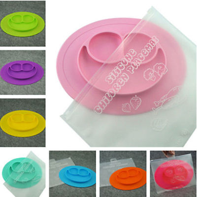 One-piece Silicone placemat Child Divided Dish ezpz Happy Bowl Suction Plates