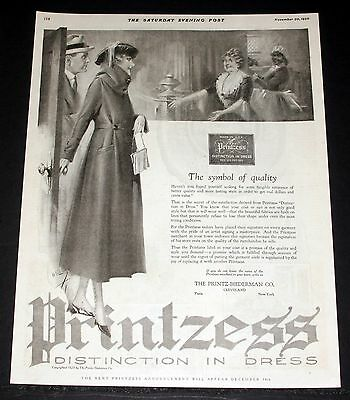 1920 Old Magazine Print Ad, Printzess Distinction In Dress, Symbol Of Quality!