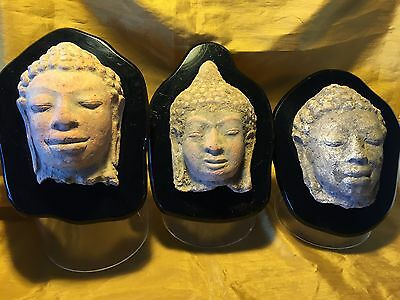 3 Ancient Thailand/Southeast Asian Terracotta Pottery Buddha Heads+Display Stand