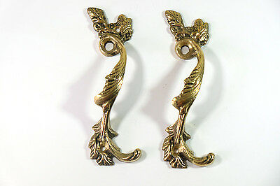 Pair of Vintage Antique Door handles cabinet pulls drawer brass knobs hardware B
