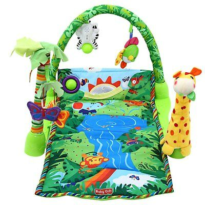 3 in 1 Soft Baby Activity Play Gym Musical Lullaby Mat Toy Rainforest Zoo crawl