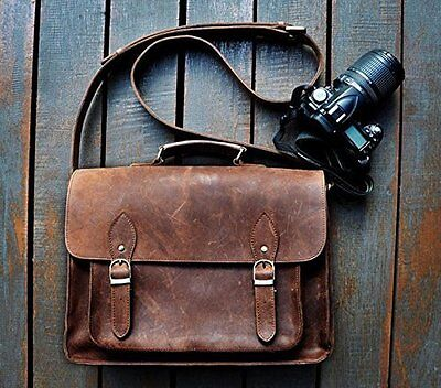 """FeatherTouch Genuine Leather Camera Bag for DSLR, Padded, 15Lx10Hx6D"""", Brown"""