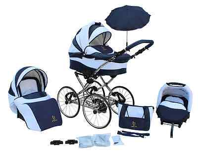 Kinderwagen AmberLine Classica Retro_NAVY, 3 in 1- Set Wanne Buggy Babyschale