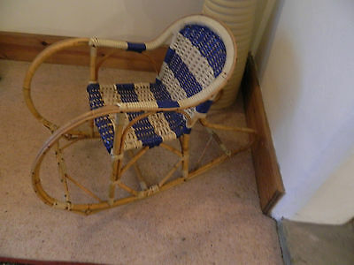 Rare Mid Century  Retro Child's Cane And Woven Rocking Chair