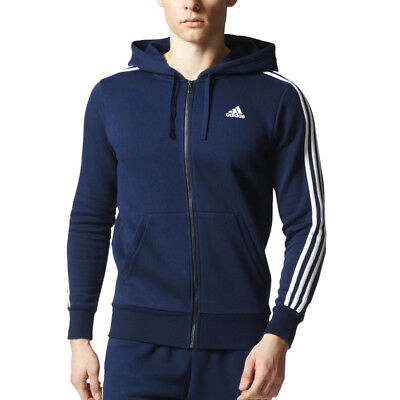 Adidas Essentials 3 Stripes Full-Zip Fleece Jacke Sweatjacke Kapuzenjacke Herren