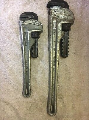 "Ridgid Pipe Wrench HD Aluminum #812,#818 -Lot of 2- 12"",18"" Long, Good Condition"