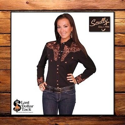 Stunning Ladies Scully Western Shirt ~ Black & Bronze Copper Floral Embroidery