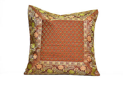 Decorative pillows 16x16 India Design Brown with Gold