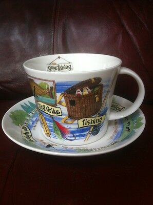 Gone Fishing By Roy Kirkham Large Bone China Breakfast Tea Cup And Saucer