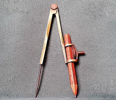 Very Old Pair of Brass Compasses with Pencil