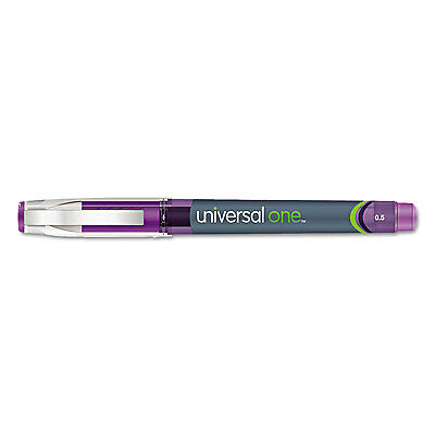 High Capacity Roller Ball Stick Gel Pen, Purple Ink, Needle, .5mm, Dozen