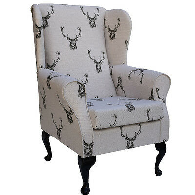 Designer Charcoal Stags on Cream / Beige Fabric Wing Back Fireside Chair - NEW