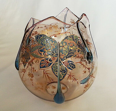 Incredible Signed AUGUSTE JEAN French Art Nouveau Enameled Glass Shade Torchere