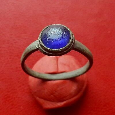 Pretty medieval bronze ring with glass insert 17-18 century