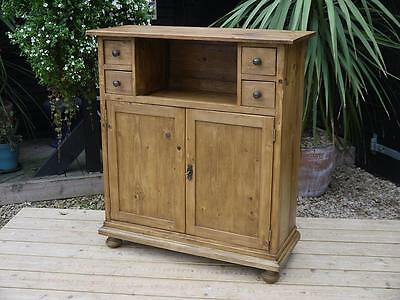 Fab! Old Antique Pine Cupboard/cabinet/school/kitchen/office/computer/tv Stand