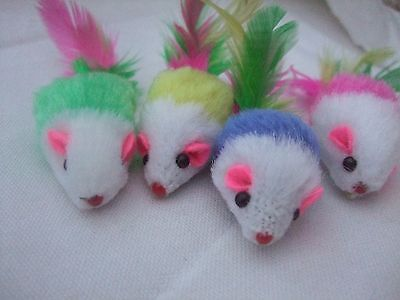Cat toy mouse feather tail furry 4 pack rattle plush fur kitten pet chasing mice