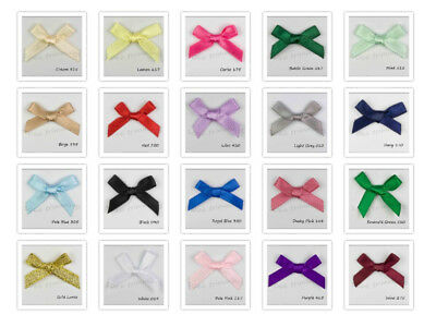 100 Satin Ribbon Bows 7mm  Many Colours Listed  Bows For Wedding - Craft - Card