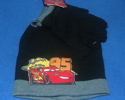 Disney Cars Lightning McQueen Beanie Hat & Gloves Cold Weather set New Child