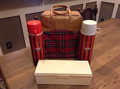 Vintage 1971 King-Seeley Thermos PLAID Picnic Lunchbox Set- MINT!