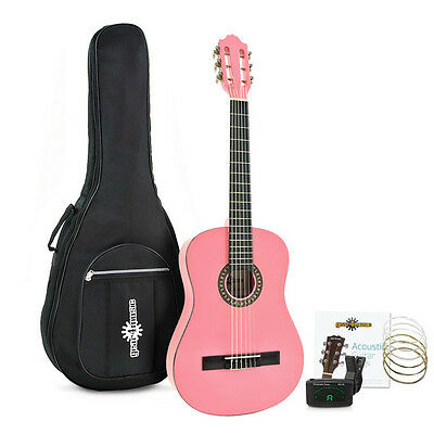 Deluxe Junior Classical Guitar Pack Pink by Gear4music