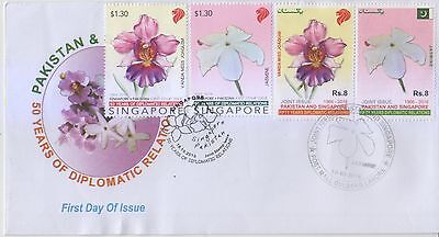 Pakistan 2016 Singapore Joint Issue National Flowers Both Sets First Day Cover