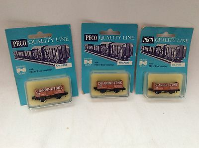 PECO N GAUGE JOB LOT OF 3x CHARRINGTONS PRIVATE OWNER OPEN WAGONS