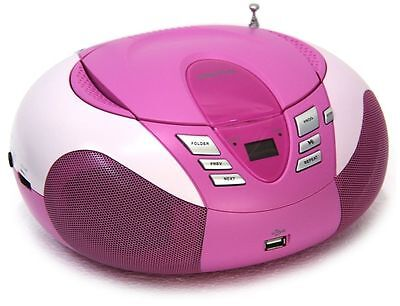 Lenco SCD-37 Tragbares UKW-Radio mit CD-Player (USB 2.0) pink NF79 A