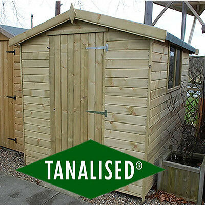 Tanalised Garden Shed 7x5 Heavy Duty Log Lap Apex Garden Sheds Fully T&G