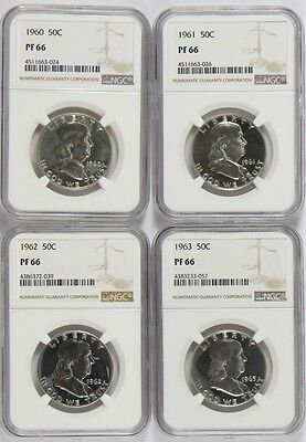 1960 to 1963 50c Silver Proof Franklin Half Dollars NGC PF 66 Four Coin Lot