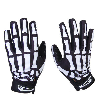 Cycling Biker Motorcyle Skull Bone Skeleton Goth Racing Full Finger Gloves M