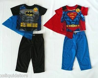 Boys Superman Or Batman Pajama Sets, Shirt, Pant And Cape!!