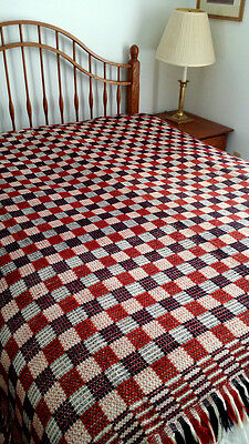 Antique Complex Weave GEOMETRIC Coverlet c.1820 Patriotic Colors RED WHITE BLUE
