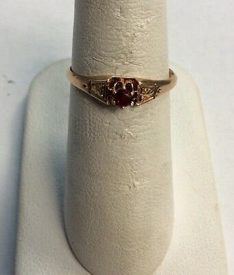14k Victorian Rose Gold Ladies Garnet Ring Size 7.25