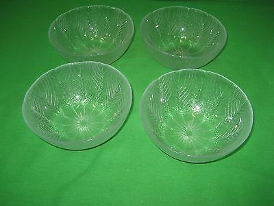 """Set of 4 Arcoroc Clear Glass Country Wheat Serving Bowls 5.5"""" USA"""