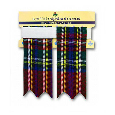 New Mens Royal Stewart 100% Acrylic Wool Kilt Hose Flashes with Garters