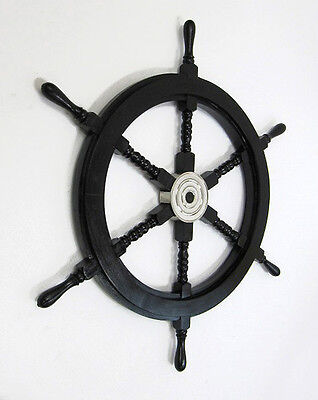 "Black Nautical Pirate Ship's Steering Wheel 30"" Wooden New"