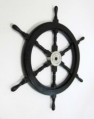 "Black Pirate Ship's Steering Wheel 30"" Wooden Nautical Wall Decor New"