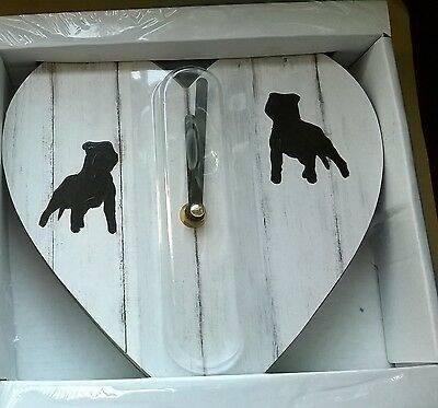 Heart Shaped Clock with Hand Painted Staffordshire Bull Terrier