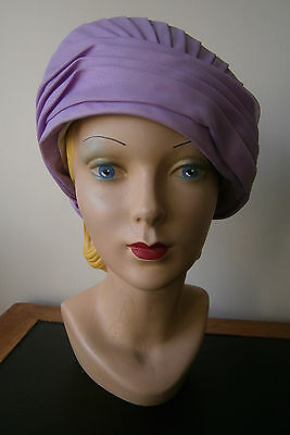 Vintage 1950's/60's Lilac Turban Hat Ruched Rose Detail Wedding Goodwood