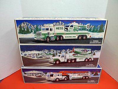 Hess Lot of 3 Toy Truck Airplane, Helicopter and Fire Truck