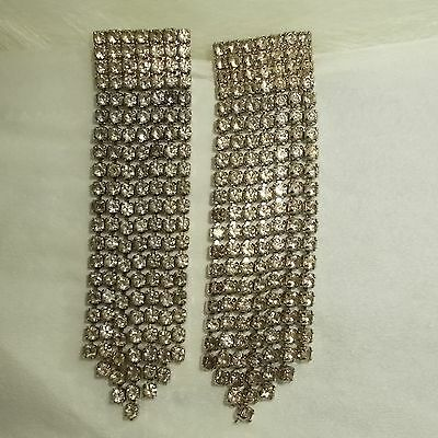 "Clear Rhinestone Silver Tone DANGLE / CHANDELIER EARRINGS 1 1/2"" Pierced"