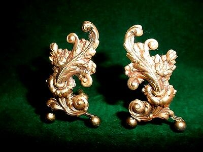 Dollhouse Miniature FIREPLACE ANDIRONS SET ACANTHUS SCROLL METAL USA crafted FOS