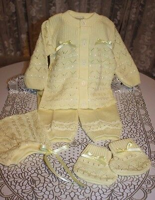 DARLING Fine Delicate Knit Baby Doll Outfit For Reborn YELLOW