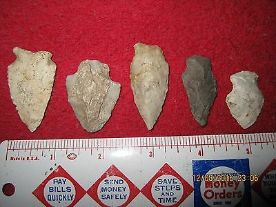 Lot Of 5 Assorted Style Arrowheads #2 ( Old Ashippun, Wisconsin, Dodge County )