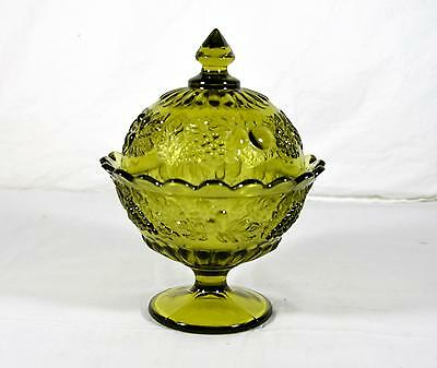 Vintage Westmoreland Green Glass Grape/Fruit Pattern Covered Candy Dish