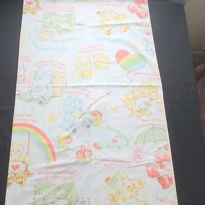 Vtg 80s CARE BEAR Carebears CRIB toddler flat sheet 52x52